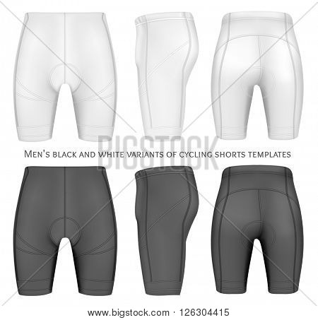 Men's cycling shorts. Fully editable handmade mesh. Vector illustration.