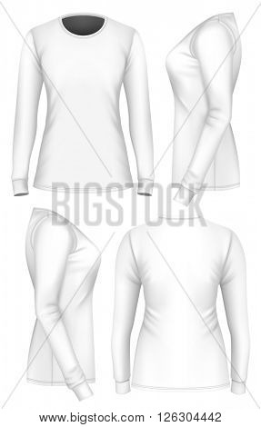 Women's t-shirt long sleeve. Fully editable handmade mesh. Vector illustration.