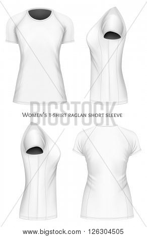 Women's t-shirt raglan short sleeve. Fully editable handmade mesh. Vector illustration.