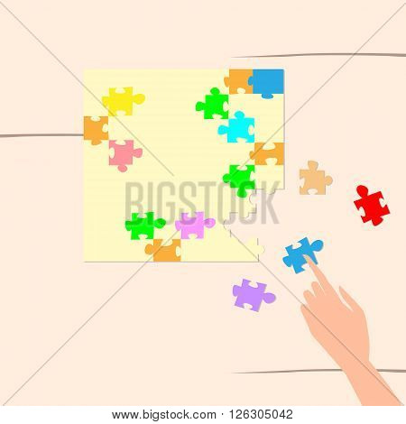 Hand Solving Puzzle Task Top Angle View Flat Vector Illustration