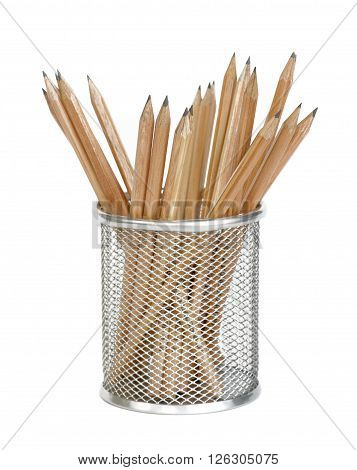 Wooden pencils in a metal holder isolated on a white background