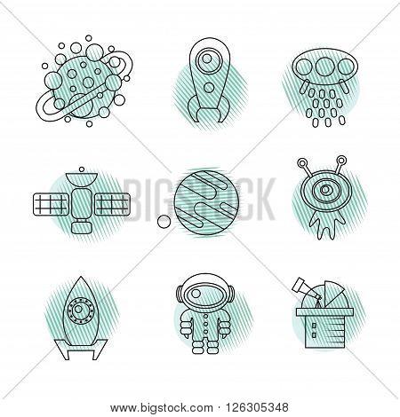 Outline symbol of planet, rocket, flying saucer, ufo, alien, observatory, astronaut, satellite