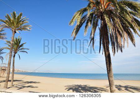 Beach of Peniscola in the Mediterranean coast of Spain
