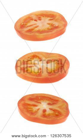Tomato cross-section slice isolated over the white background, set of three different foreshortenings