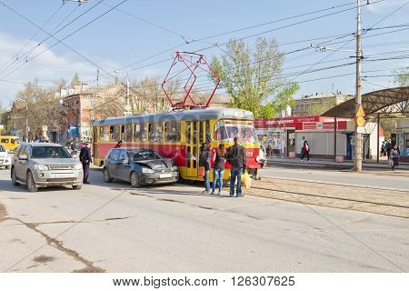 Car Accident On The Tram Tracks Prevents Normal Movement Of Urban Electric Transport