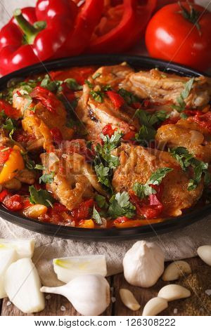 Tasty Chicken Stew With Vegetables And Ingredients Close-up. Vertical