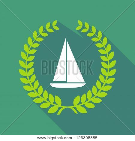Long Shadow Laurel Wreath Icon With A Ship