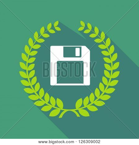 Long Shadow Laurel Wreath Icon With A Floppy Disk