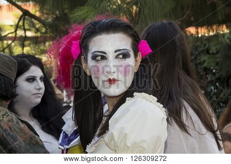 SELARGIUS, ITALY - June 29, 2014: The enchanted garden in Cosplay - Sardinia - Portrait of a beautiful girl wearing makeup in cosplayers costumes