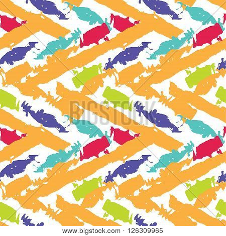 Vector abstract seamless wavy pattern. Vector illustration. Hand drawn brush strokes