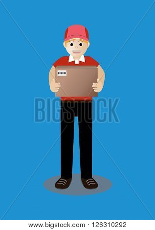 cartoon vector of man in red uniform delivery of box package
