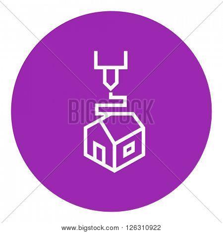 Tree D printing line icon.