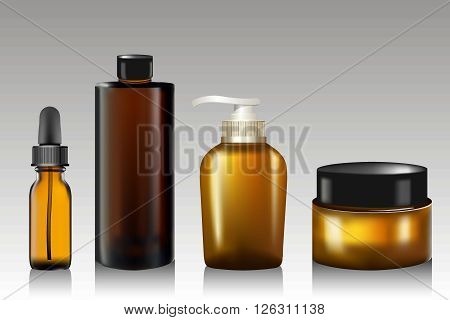 Realistic essential oil bottle, tube for cream soap, shampoo, ointment, lotion. Soap pump Mock up. Cosmetic vial flask. Container for perfume. Medical bank. Cosmetic dropper-bottle. 3D illustration.