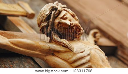 Holy cross with crucified Jesus Christ (details)