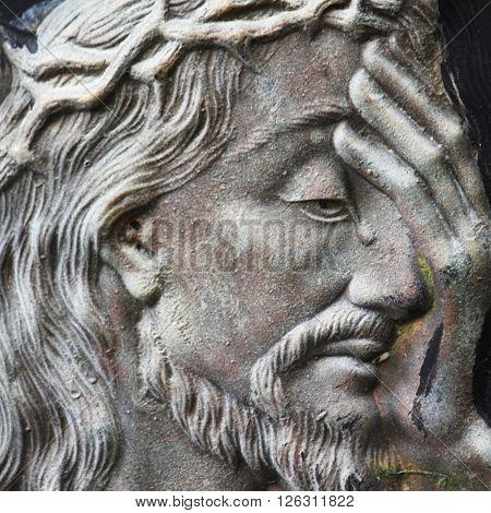 detail of sculpture of Jesus Christ(close up)