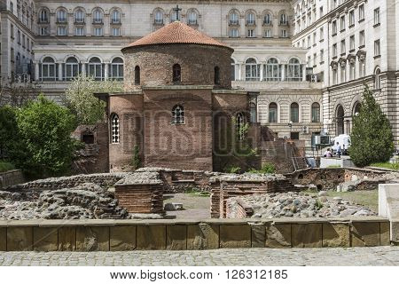 Sofia, Bulgaria - April 14: The Church Of St George Is An Early Christian Red Brick Rotunda That Is