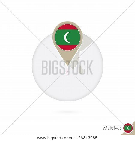 Maldives Map And Flag In Circle. Map Of Maldives, Maldives Flag Pin. Map Of Maldives In The Style Of