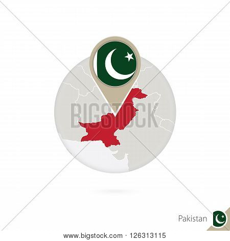 Pakistan Map And Flag In Circle. Map Of Pakistan, Pakistan Flag Pin. Map Of Pakistan In The Style Of