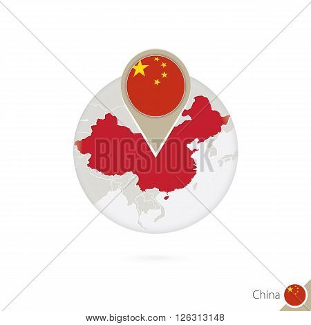 China Map And Flag In Circle. Map Of China, China Flag Pin. Map Of China In The Style Of The Globe.