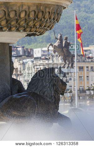 Lion Statue and Macedonian Flag Skopje Macedonia