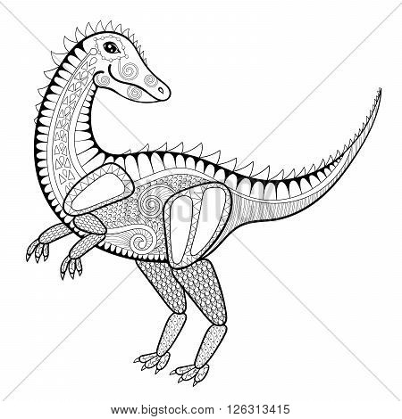 Vector zentangle dinosaur illustration,  tyrannosaur print for adult anti stress coloring page. Hand drawn artistically ornamental patterned Dino, T Rex. Animal collection.