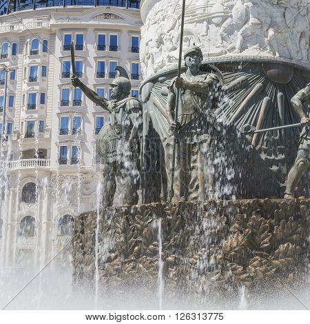 Monument Of Alexander The Great In Downtown Of Skopje, Macedonia, Fountain Of Water And Falanga Warr