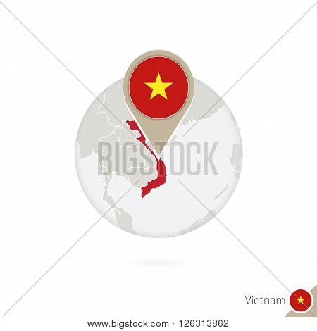 Vietnam Map And Flag In Circle. Map Of Vietnam, Vietnam Flag Pin. Map Of Vietnam In The Style Of The