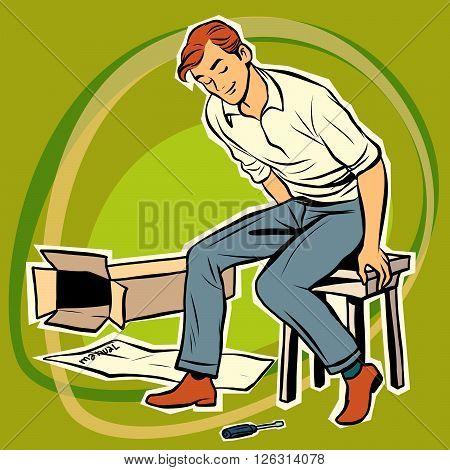 Screwdriver male furniture designer. Assembling furniture. Toy designer