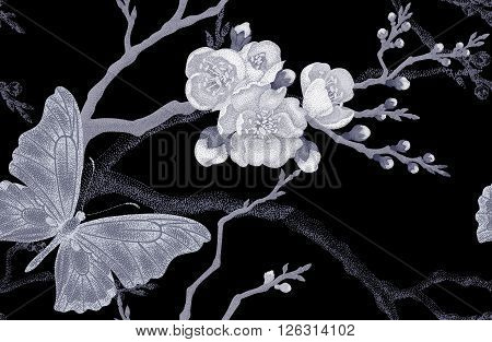 Seamless vector floral background. Flowers and butterflies. Illustration of flowers in the Victorian style. Vintage pattern flowers and butterflies. Sakura Branch and butterflies on black background.