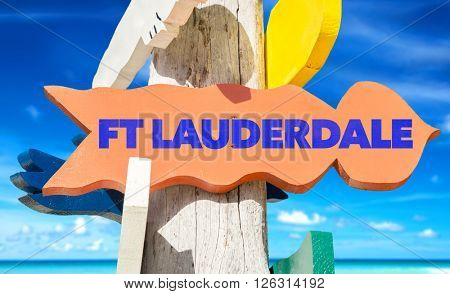 FT Lauderdale signpost with beach background