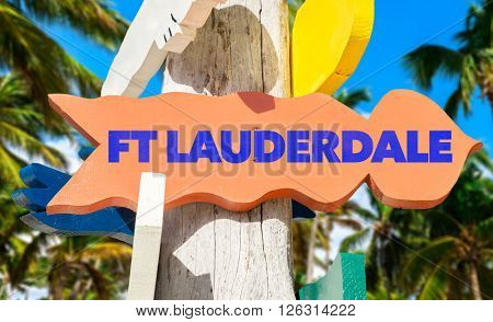FT Lauderdale signpost with palm trees