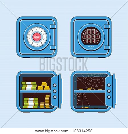 Safe flat vector color illustration, open safe with gold bars and money banknotes, closed safe, open empty safe spider web
