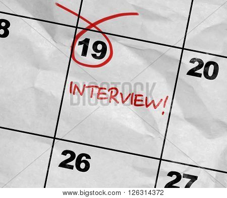 Concept image of a Calendar with the text: Interview