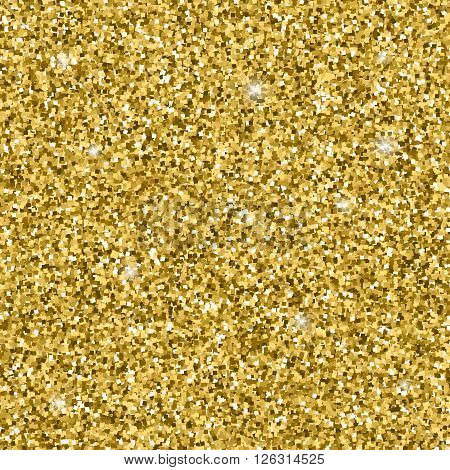 Golden glitter pattern. Vector glitter texture for flyer, poster, shopping, sale sign. Abstract glitter background with glowing stars and glittering light. Texture for your design and business