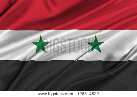 Flag of Syria waving in the wind.