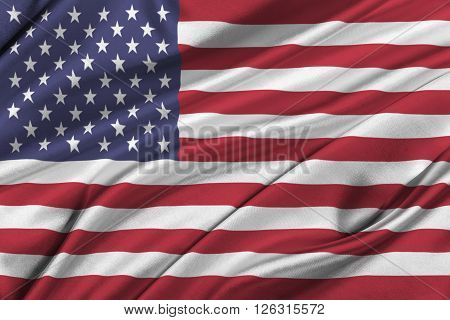 Flag of United States waving in the wind.