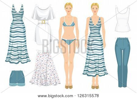 Paper doll with clothes. Body template. Set of template paper clothes. Clothes for holiday. Blonde girl in white maxi dress with blue stripe.