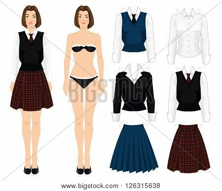 Paper doll with clothes. Body template. Set of template paper clothes. young school or student girl in uniform. Various color of formal clothes for school or college. Skirt with tartan pattern