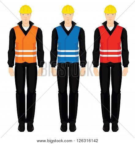 Vector illustration of man in protective vest with striped isolated on white background. Different color of protective vest
