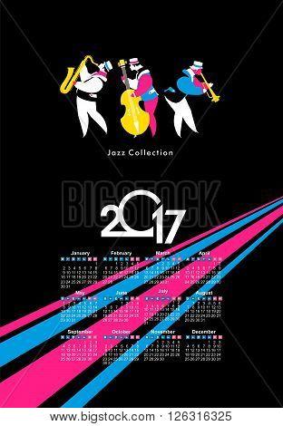 vector calendar 2017 on a season of jazz music jazz band festival
