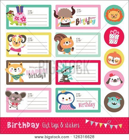 Set of birthday cards, gift tags and sticker.