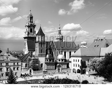 Wawel cathedral, or The Royal Archcathedral Basilica of Saints Stanislaus and Wenceslaus on the Wawel Hill, Krakow, Poland. Black and white image.