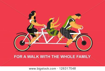 Vector illustration of a young family man and woman and daughter riding on a tandem bike