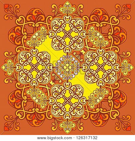 Arabic ornament background Oriental mandala ethnic Amulet Abstract floral pattern element for recreation kaleidoscope medallion yoga Indian Arabic design