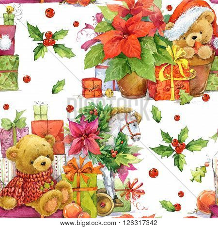 Christmas seamless pattern. Christmas wrapping paper background. New Year pattern. Christmas flower. Cute bear. Teddy bear. Christmas gift. Christmas Vintage background. Wrapping paper. Textile print.