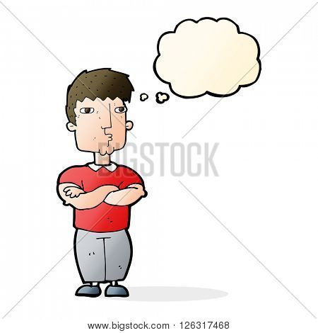 cartoon man with crossed arms with thought bubble