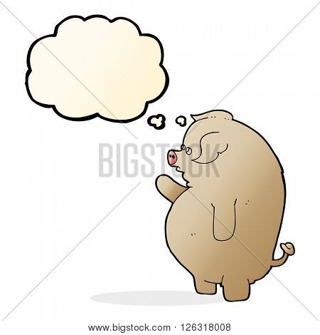 cartoon fat pig with thought bubble