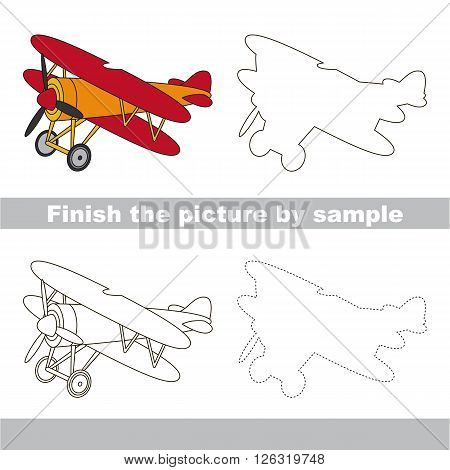 Drawing worksheet for children. Finish the picture and draw the cute Biplane