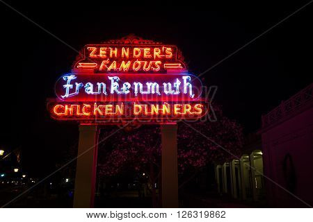 Frankenmuth, Michigan, USA - April 17, 2016. Opened in 1928, Zehnders  is a famous Michigan restaurant that serves up to 3,000 customers daily.