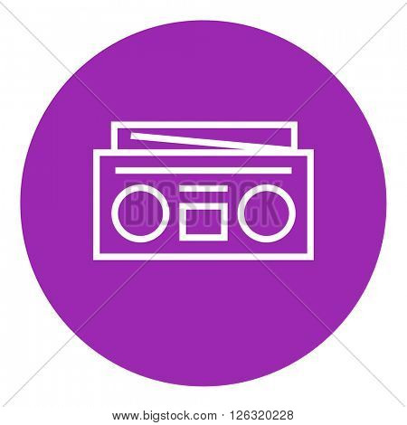 Radio cassette player line icon.
